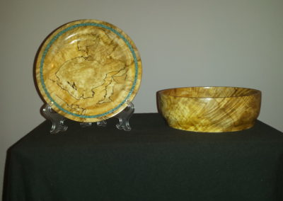 A plate and bowl of crotch wood, maple
