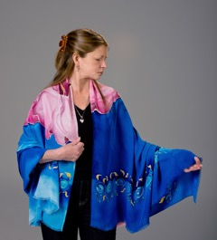 painted silk shawl