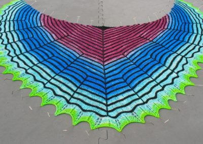 hand-dyed knit shawl – blocking process by Alice Gillespie