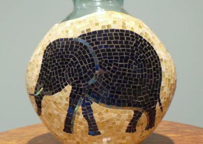 Elephant - glass mosaic on vase
