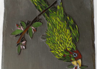 Parrot - glass mosaic on slate