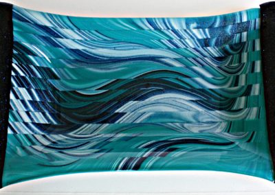 Peacock tray, 12x6 inches, fused glass