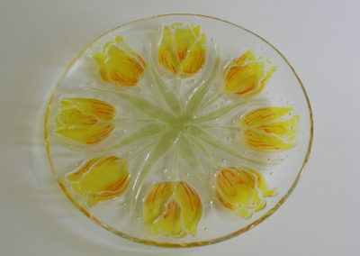 Tulip bowl, 12 inches, fused glass