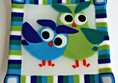 blue green owls